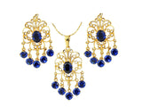samiksha Chandelier design 24K gold plated jewelry set with beautiful zircons - Peacock Blue - Samiksha's - Jewelry Set - www.samiksha.com