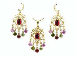 samiksha Chandelier design 24K gold plated jewelry set with beautiful zircons - Multi Color - Samiksha's - Jewelry Set - www.samiksha.com