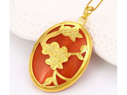 samiksha Oval shaped rust-red color noble charms pendant with gold flowers - Samiksha's - Pendant - www.samiksha.com