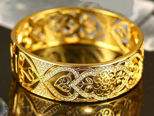samiksha Dubai gold collection bangle with beautiful white zircons - Samiksha's - Bangles - www.samiksha.com