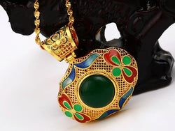 samiksha Leaf shaped gold pendant with green and red enamel work - Samiksha's - Pendant - www.samiksha.com