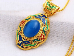samiksha Light blue stone enamel work pendant on 24K gold color - Samiksha's - Pendant - www.samiksha.com