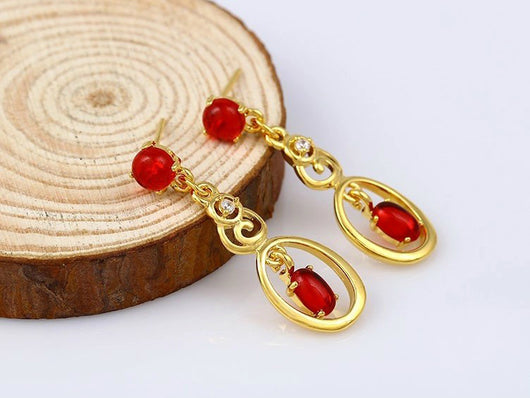 samiksha Fashionable long earrings with red ruby stones - Samiksha's - Ear Rings - www.samiksha.com