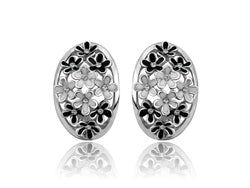 samiksha Beautiful silver plated earring with black and white flowers - Samiksha's - Ear Rings - www.samiksha.com