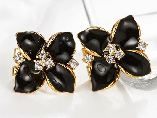 samiksha Rose gold plated flower stud earrings with black oil drop enamel - Samiksha's - Ear Rings - www.samiksha.com