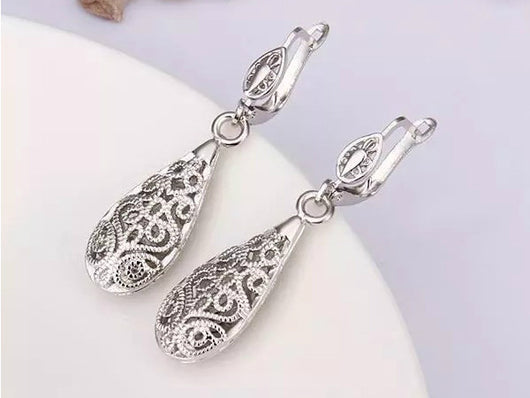 samiksha Silver plated water drop earrings - Samiksha's - Ear Rings - www.samiksha.com