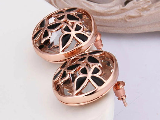 samiksha Rose gold plated glass butterfly stud earring with black enamel - Samiksha's - Ear Rings - www.samiksha.com
