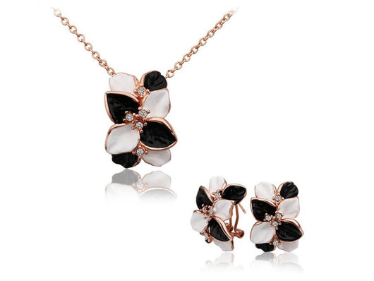 samiksha Rose gold plated oil drop with crystals leaf pendant and earring jewelry set - Samiksha's - Jewelry Set - www.samiksha.com
