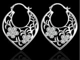 samiksha Silver plated hoop earings with cubic zircons - Samiksha's - Ear Rings - www.samiksha.com