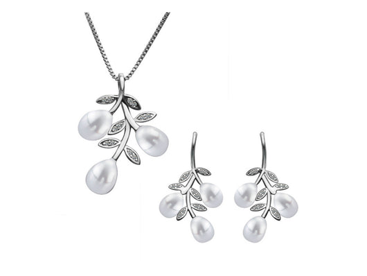 samiksha Lustrous cultured white pearl pendant and earring set adorned with white stones. - Samiksha's - Jewelry Set - www.samiksha.com