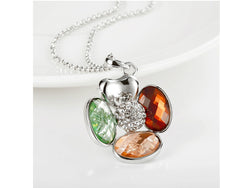 samiksha Multi color platinum plated necklace with Czech glass crystals - Samiksha's - Pendant - www.samiksha.com