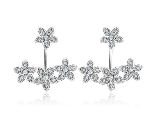 samiksha Korean style diamond accent platinum white plated front back earrings with cubic zircons - Samiksha's - Ear Rings - www.samiksha.com