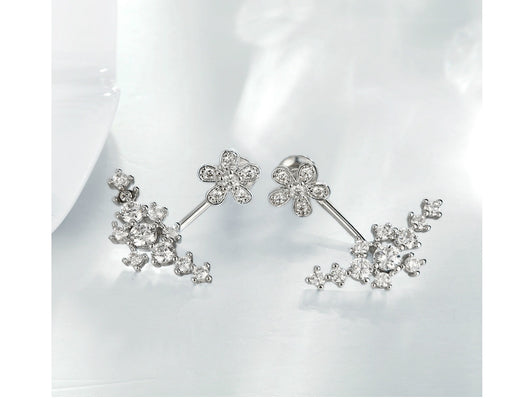 samiksha Korean style platinum white plated earrings with cubic zircons - Samiksha's - Ear Rings - www.samiksha.com
