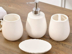 samiksha 4 Piece White Porcelain Bathroom Set with Ribbed Pattern - Samiksha's - Bathroom Set - www.samiksha.com