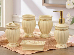 samiksha 5 Piece Porcelain Bathroom Set - Cream and Gold - Samiksha's - Bathroom Set - www.samiksha.com