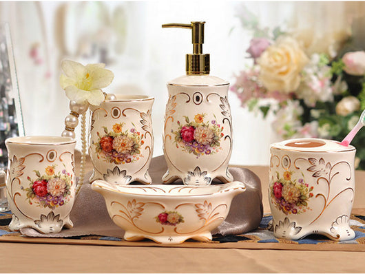 samiksha 5 Piece Porcelain Bathroom Set - Country Bouquet - Samiksha's - Bathroom Set - www.samiksha.com