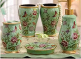 samiksha 5 Piece Porcelain Bathroom Set - Aqua Green Butterfly Meadow - Samiksha's - Bathroom Set - www.samiksha.com