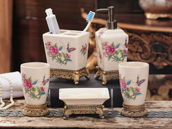 samiksha 5 Piece Porcelain Bathroom Set - Pink Flowers - Samiksha's - Bathroom Set - www.samiksha.com
