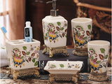 samiksha 5 Piece Porcelain Bathroom Set - Yellow Flowers - Samiksha's - Bathroom Set - www.samiksha.com