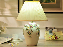 samiksha LED Table Lamp with Colorful Carved Flowers and Mushroom Pleated Silk Shade - Samiksha's - Lighting - www.samiksha.com
