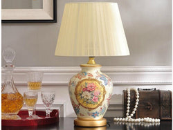 samiksha Vintage Collection - Ceramic Table Lamp with Hand Painted Flowers - Samiksha's - Lighting - www.samiksha.com