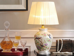 samiksha Ceramic Silver Trim Table Lamp with Colorful Flowers and Birds - Samiksha's - Lighting - www.samiksha.com