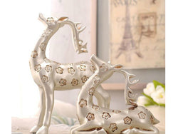 samiksha Elegant Pair of Silver Gazing Deer Sculptures with Antlers - Samiksha's - Sculptures - www.samiksha.com
