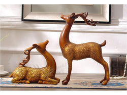 samiksha Large Pair of Brown Deer Sculpture with Antlers - 16