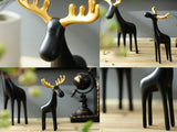 samiksha Family of Three Black Reindeer Sculptures with Golden Antlers - Samiksha's - Sculptures - www.samiksha.com