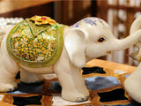 samiksha Set of Three Maharaja's Elephant Sculpture - Blue or Green - Samiksha's - Sculptures - www.samiksha.com