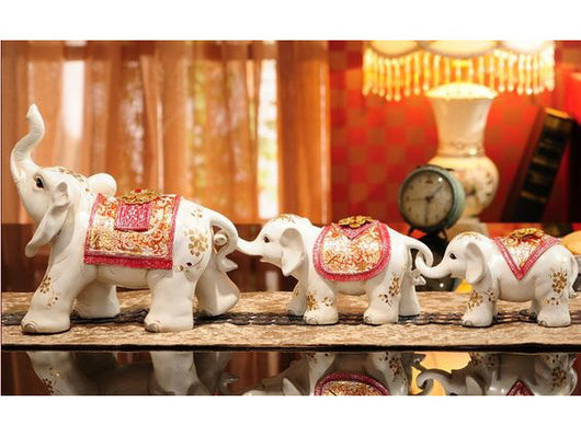 samiksha Set of Three Maharaja's Elephant Sculpture - Red - Samiksha's - Sculptures - www.samiksha.com