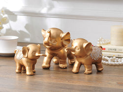samiksha Family of Three Little Elephant Sculptures - Golden - Samiksha's - Sculptures - www.samiksha.com