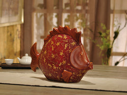 samiksha Large Red Fish Sculpture - Hand Painted with Golden Patterns - Samiksha's - Sculptures - www.samiksha.com