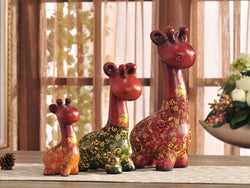 samiksha Colorful Giraffe Family - 3 Piece Sculpture Set - Samiksha's - Sculptures - www.samiksha.com