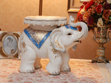 samiksha Large Royal Elephant Side Table Sculpture with Blue and Golden Jhools - Samiksha's - Floor Decor - www.samiksha.com