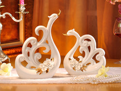samiksha Pair of White Porcelain Swans with Decorative Wings - Samiksha's - Swans - www.samiksha.com