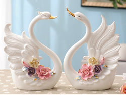 samiksha Pair of Porcelain Swans with an Arrangement of Pinched Multi-Color Roses - Samiksha's - Swans - www.samiksha.com