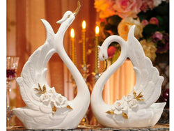 samiksha Pair of Porcelain Swans with an Arrangement of White Pinched Roses - Samiksha's - Swans - www.samiksha.com