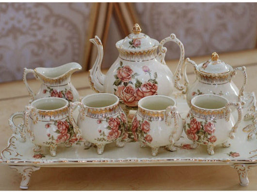 samiksha 10 Piece Rose Flower Hand Painted Porcelain Tea Set - Samiksha's - Tea Sets - www.samiksha.com