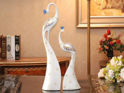 samiksha Exquisite Pair of Hand Painted Peacock Sculptures - White & Blue - Samiksha's - Sculptures - www.samiksha.com