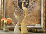 samiksha Exquisite Pair of Hand Painted Peacock Sculptures - Gold & Silver - Samiksha's - Sculptures - www.samiksha.com