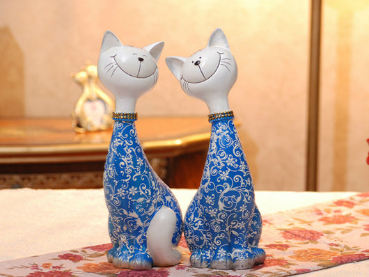 samiksha Pair of Happy Cats Sculpture - Blue - Samiksha's - Sculptures - www.samiksha.com