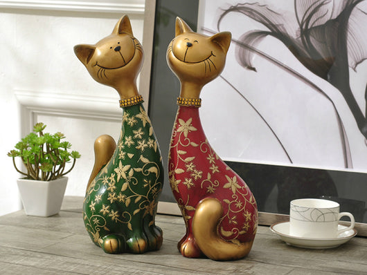 samiksha Pair of Happy Cats Sculpture - Red & Green - Samiksha's - Sculptures - www.samiksha.com
