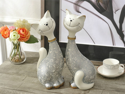 samiksha Pair of Happy Cats Sculpture - Silver - Samiksha's - Sculptures - www.samiksha.com
