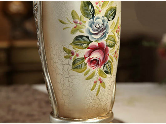 Vintage Collection 215 Tall Hand Painted Flower Vase With