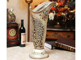 "samiksha Vintage Collection - 21.5"" Tall Hand Painted Flower Vase with Intricate Artwork - Samiksha's - Vase - www.samiksha.com"