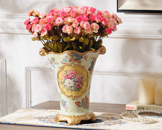 samiksha Vintage Collection - Gold Rimmed Ceramic Vase with Hand Painted Flowers - Samiksha's - Vase - www.samiksha.com