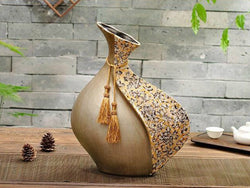 samiksha Vintage Collection - Antique Brown Broad Vase - Samiksha's - Vase - www.samiksha.com