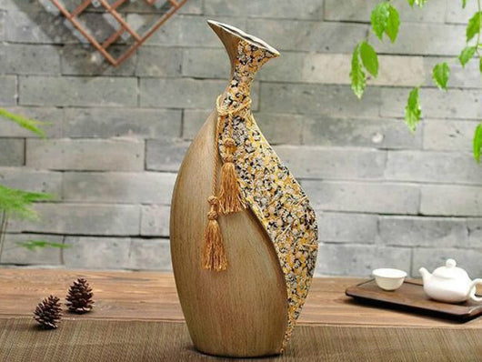samiksha Vintage Collection - Antique Brown Slim Vase - Samiksha's - Vase - www.samiksha.com
