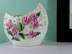 samiksha Wide Mouth Porcelain Vase with Pinched Purple Flowers - Samiksha's - Vase - www.samiksha.com